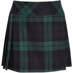 Moschino Plaid wool-twill kilt ($315) ❤ liked on Polyvore featuring skirts, mini skirts, bottoms, moschino, saias, navy, navy pleated skirt, navy mini skirt, navy blue mini skirt and wrap mini skirt