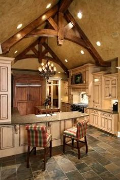 The exposed beams are amazing in this kitchen!