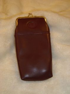 Buxton Buxhyde BB Burgundy Leather Long Kiss Lock Cigarette Case Velor Lined