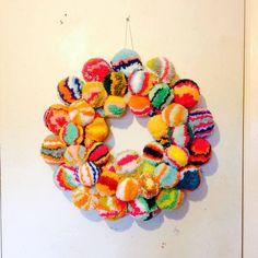 Christmas Festive Modern Wedding Pom Pom Wreath Home Decor Rainbow Multicolour