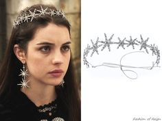 """In the episode 2x08 (""""Terror of the Faithful"""") Queen Mary wears this Jennifer Behr Estelle Circlet ($825). Worn with the Oscar de la Renta top, Zara belt, a custom-made skirt, RJ Graziano earrings, Gillian Steinhardt labyrinth and signet rings."""