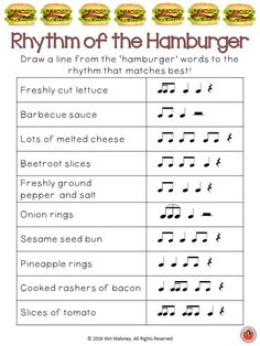 RHYTHM of the HAMBURGER!!  This five page FREEBIE will be added to the FREE Resources Library for May!  ♫ CLICK through to read more about the Resource Library or repin for later!  ♫    | free music worksheets  |