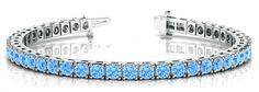 5 Carat Swiss Blue Topaz Tennis Bracelet 14k White Gold - Gemstone Bracelets for Women - Gifts - Anniversary Jewelry - Blue Topaz Jewelry - High end