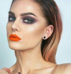Orange lip + smokey plum eyes #lindahallberg