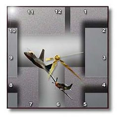 Two Planes in Air Show Flying Close Together on Gray Back Drop that has been Beveled and Texturized Wall Clock