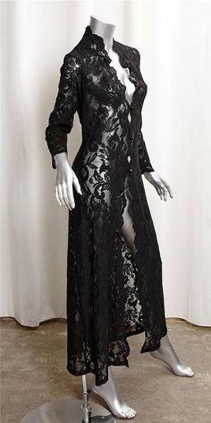 CASADEI Womens Black Lace Full Length Light Sheer Duster Evening Maxi Jacket M #BasicJacket