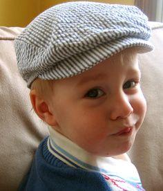 Seersucker Stripe Newsie Hat for Toddler Boy - Ready to Ship. $24.00, via Etsy.