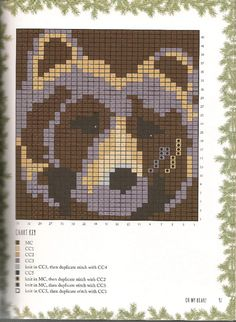 Pixelated bear face as quilt inspiration. Fair Isle Knitting Patterns, Knitting Charts, Loom Patterns, Beading Patterns, Cross Stitch Charts, Cross Stitch Patterns, Bear Paw Tattoos, Bear Blanket, Pearler Bead Patterns