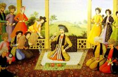 Suleiman I and his courtiers, Isfahan. Note the two Georgian figures with their names at the top left. Aliquli Jabbadar ('Alī-qolī Jabbadār) Suleiman I of Socrates, History Of Islam, Ancient Persian, Persian Culture, Iranian Art, Chef D Oeuvre, Arabian Nights, North Africa, Islamic Art