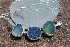 Sea Glass Necklace/Pendant Blue Shades by kathyarterburn on Etsy, $67.00