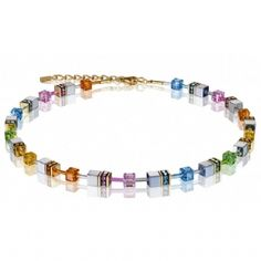 Coeur De Lion Yellow Gold Plated Pastel Rainbow Necklet 4015/10-1522 Glass Cube, Black Glass, Swarovski Crystals, Plating, Beaded Bracelets, Jewels, Beads, Silver, Rainbow