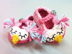 You could make some money with these!! @ Carol Boutot Crochet Owl Mary Jane Slippers