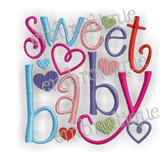 Machine Embroidery Design  Sweet Baby  3 sizes 4x4 by Embroitique, $2.99
