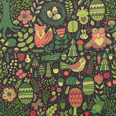 #doodle #pattern#drawing #artist #painting #seamless #forest #cute #animals #owl #fox #textile #fabric