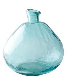 Short Turquoise Glass Vase