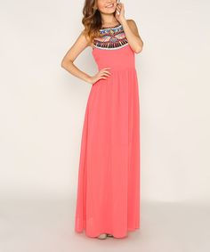 Another great find on #zulily! Coral Embroidered Maxi Dress - Women by Marineblu #zulilyfinds