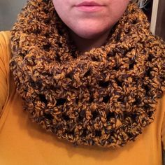 "bulky cowl scarf (handmade). This gorgeous cowl truly represents all of the colors of Autumn. So warm and cozy for fall/winter. Cowls are in this season and pair perfectly with a long sleeve tee or an oversized sweater and leggings. This should be a staple in your wardrobe this fall. 100% acrylic in the color ""golden mist"" (golden color with brown and cream interwoven threads). Accessories Scarves & Wraps"