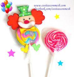 Payasitos en foami para regalar dulces a los niños ~ cositasconmesh