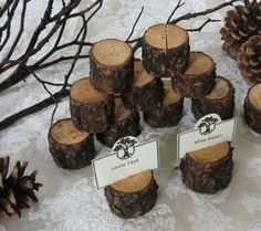 Woodland Party - log seating card holder