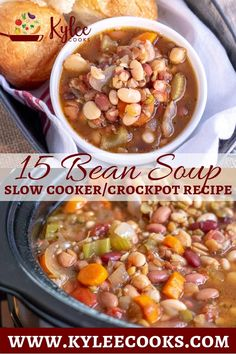 This 15 bean soup cooks ALL day. Come home to deliciouness! This 15 bean soup cooks ALL day. Come home to deliciouness! Crockpot 15 Bean Soup, Ham And Bean Soup, Bean Soup Recipes, Crock Pot Soup, Crock Pot Slow Cooker, Slow Cooker Recipes, Cooking Recipes, Healthy Recipes, Slow Cooker Bean Soup