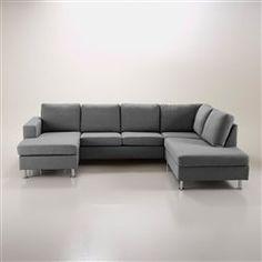 Canapé d angle en tissu gris foncé Samantha Idées deco