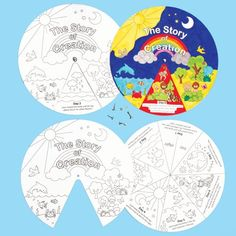 Creation Story Wheels - Tell the story of creation with your own story wheel! Pre-printed card wheels to colour in with our Deco pens or fibre tip pens, then assemble, before spinning to learn about the events of creation. Size 23cm. Ideal for Sunday School crafts.