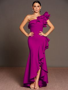 Purple Falbala One Shoulder Women's Maxi Dress Dressy Dresses, Dressy Outfits, Elegant Dresses, Prom Dresses, Elegantes Outfit, Frack, Gowns Of Elegance, African Fashion Dresses, Dresses Online