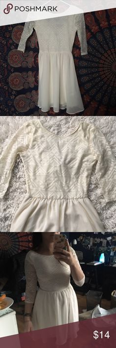 Cream sheer skater dress Gorgeous dress perfect for the Holidays! Top portion is geometric pattern lace and bottom is a soft sheer/chiffon fabric. White, creamy color. Divided by h&m H&M Dresses Mini