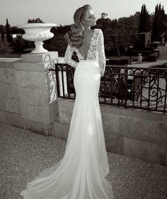 Zoog Studio,via Wedding Inspirasilong-sleeve-sheath-bridal-gown-guipure-lace-bodice-deep-v-back1a
