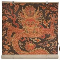 Hanging room divider/ window blinds made from matchstick bamboo featuring a Chinese dragon design. (Asian decor)