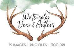 Limited Free Download Deer & Antlers Clipart by TigerlilyDesignCo This is a collection of 20 high quality, handmade watercolor images including various deer antlers, a buck in profile, and a silhouette buck head. This collection is ideal for creating greeting cards, logos, business cards, etc.  #affiliate