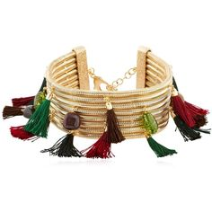 Rosantica Women Frivola Choker With Tassels & Stones (€835) ❤ liked on Polyvore featuring jewelry, necklaces, green stone jewelry, stone necklaces, red necklace, green jewelry and nickel free jewelry