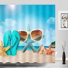 Best Garden Decorations Tips and Tricks You Need to Know - Modern Beach House Bathroom, Beach Bathrooms, Ocean Shower Curtain, Bathroom Shower Curtains, Bathroom Decals, Amazing Bathrooms, Sea Shells, Starfish, Bedroom Decor