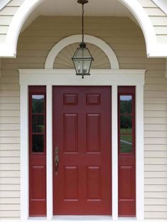 A Red Door is a sure way to make a bold statement. Red will complement black trim, sand, beige or white siding.