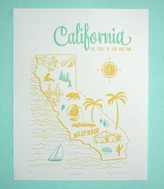 Letterpress Print California Vintage Travel by Paper Parasol Press San Diego, San Francisco, Rosarito, Las Vegas, Cali Girl, California Dreamin', Vintage California, City Of Angels, Nyc