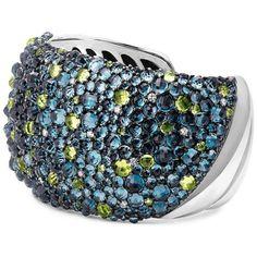 David Yurman Osetra Mosaic Hampton Blue Topaz & Peridot Cuff Bracelet... ($8,000) ❤ liked on Polyvore featuring jewelry, bracelets, blue topaz, hinged cuff bracelet, diamond cuff bangle, peridot bangle, cuff bangle bracelet and peridot jewellery