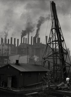 The industry becomes the anchor point for an area. First, the plants are built. And after that would be housings for workers and other service store. Culture Industry, Margaret Bourke White, Monochrome Photography, White Photography, Industrial Photography, Great Photographers, Dark Ages, Photomontage, Vintage Industrial