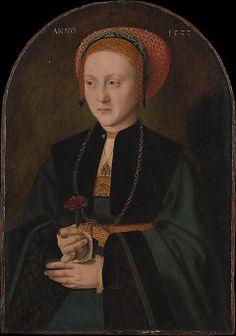 Bartel Bruyen, portrait of a woman, 1533 - spangled headwear