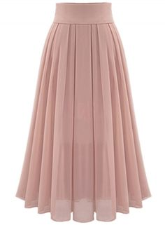 High Waist Maxi Chiffon Pleated Skirt novashe.com