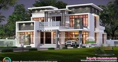5 BHK, modern contemporary house architecture in an area of 2620 square feet by Line Interiors, Thrissur, Kerala.