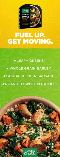 When you need an easy meal that will help you power through the day look no further than Healthy Choices Chicken Sausage & Barley Power Bowl. Its made with delicious satisfying ingredients like apple gouda chicken sausage roasted sweet potatoes whol Easy Cooking, Cooking Recipes, Healthy Pizza Recipes, Healthy Meals, Frozen Meals, Roasted Sweet Potatoes, Power Bowl, Casserole Recipes, Healthy Choices