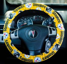 Made from Pittsburgh Steelers Fabric Padded Steering Wheel Cover Car Decor Cute Car Accessories by FireflyCreations42 on Etsy https://www.etsy.com/listing/232383588/made-from-pittsburgh-steelers-fabric