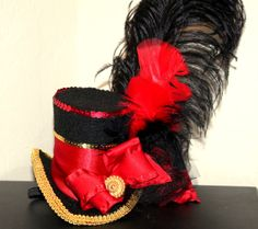 MINI TOP Hat - CAMERON - Red Gold and Black Woman Top Hat - Boys Hat - Mad Hatter, Circus, Ladies Hat - Krown Kreations