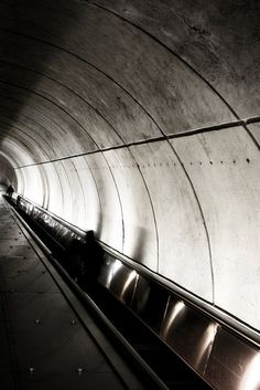 Photograph Black and White - Woman on Washington DC Underground Metro Subway Escalator Architecture Vertical Art Print Home Decor by HenaTayebPhotography