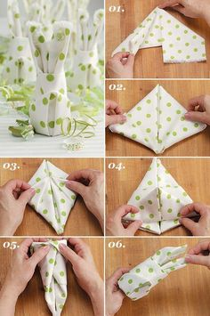 Make your own table decorations for Easter - 70 craft ideas for that special, personal touch - Easter bunny napkins fold table decoration make yourself - Easter Crafts, Holiday Crafts, Easter Ideas, Ostern Party, Diy Ostern, Decorative Napkins, Diy Y Manualidades, Christmas Napkins, Christmas Christmas