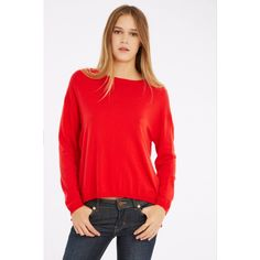 Red sweater Les Petites… with long sleeves. Open at the back and slash neck. The equilibre sweater is a basic, easy to wear with a skirt or a pair of jeans. Contains wool and cashmere. Our model is 179cm tall and wears the S size.