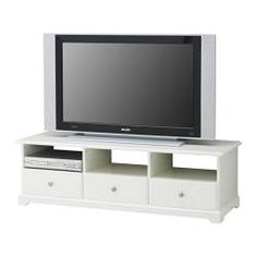 """$299...57"""" wide, not wide enough if TV sits on it...LIATORP TV unit - white - IKEA...customize slightly by changing the knobs...DISCONTINUED"""