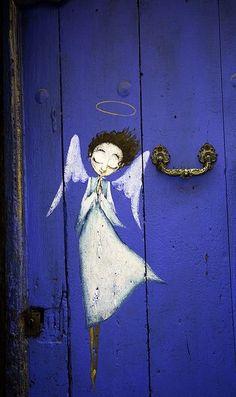 Angel on a blue door street art Graffiti, Street Art, I Believe In Angels, Angels Among Us, Unique Doors, Angel Art, Painted Doors, Doorway, Illustration