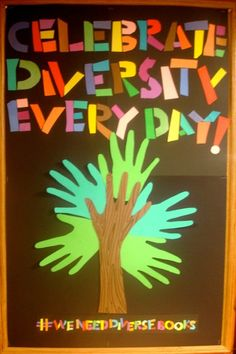 "Something like this to highlight the ""Sweet are the uses of Diversity"" theme? Maybe with more Shakespeare quotes, but I liked how the hands looked like a tree. (Kinda similar to an Into the Woods vibe) Diversity Display, Diversity Poster, Diversity Quotes, College Bulletin Boards, Bulletin Board Display, Classroom Bulletin Boards, Multicultural Bulletin Board, Diversity Bulletin Board, School Displays"