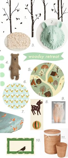 1. Birch Trees Decals, Etsy, $74 2. Bear Head in Mint, Etsy, $29.99 3. Shag Rug, Urban Outfitters, $179 (5 x 8) 4. Brian the Bear, SaraCarr on Etsy, $54 5. Fort Firefly Organic Crib Sheet, Etsy, $50 6. Little Foxes Organic Flannel Crib Sheet, Etsy, $50 7. Oh Deer Felt Mobile, Etsy, $10 8. Night Owl Porcelain Light, Restoration Hardware Baby, $48 9. Foxes Organic Changing Pad Cover, Etsy, $45 10. Frame Wall Decal, Etsy, $30 11. Rattan Hamper Basket Set, Overstock.com, $68